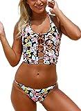 Bulawoo Womens Sexy Plus Size Floral Print Backless Lace up Crop Top Bikini Swimwear Swimsuit Bathing Suits XL Size