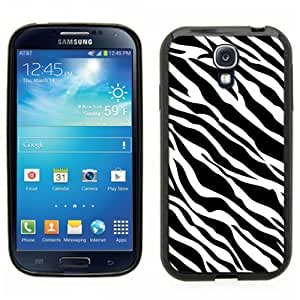 Samsung Galaxy S4 SIIII Black Rubber Silicone Case - Zebra Pattern Print Faux Animal Pattern