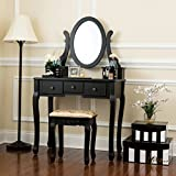 Fineboard HFB-VT07-BK Single Mirror Dressing Set Five Organization Drawers Vanity Table with Wooden Stool, Black