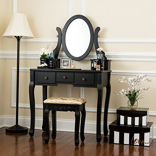 Fineboard FB-VT07-BKN Single Mirror Dressing Set Five Organization Drawers Vanity Table with Wooden Stool, White, Black ()