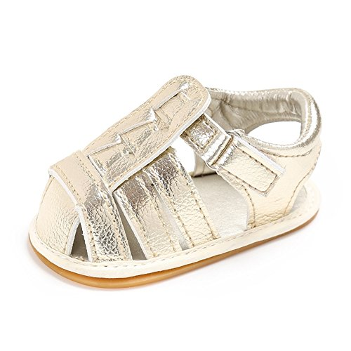 Lidiano Baby Soft Non Slip Rubber sole Close Toe Sandles Toddler Crib Shoes 0-18 Months (12-18 Months, Gold)
