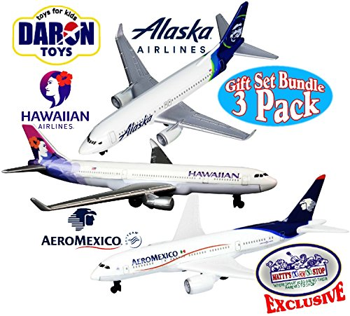"Daron Hawaiian Airlines, Alaska Airlines & AeroMexico Die-cast Planes ""Matty's Toy Stop"" Exclusive Gift Set Bundle - 3 Pack"
