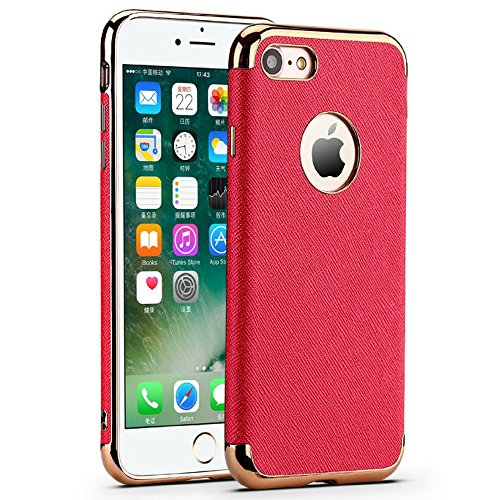 Haute Fashion (Luxe Two-Tone High-End Case - Haute New Fashion With Rose Gold Trim - iPhone 7 PLUS (Red))