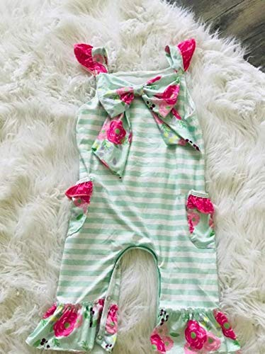 Floral and Mint Striped Summer Romper Jumper Toddler Baby Girl Boutique Outfit, Sweet Baby Girl