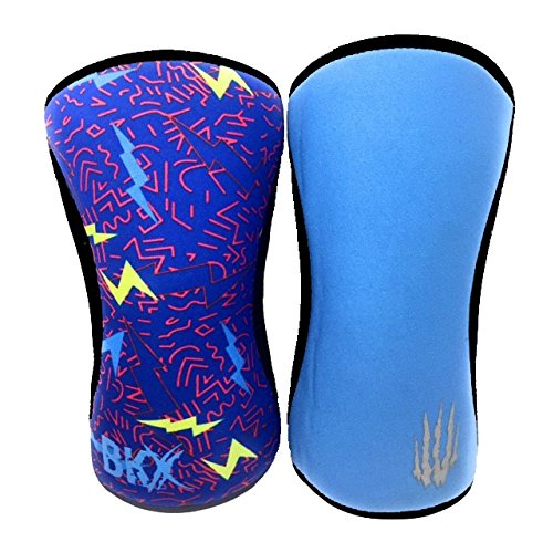 Bear KompleX Durable Knee Sleeves (Sold AS A Pair of 2) Compression and Support for Weightlifting, and Powerlifting - 5mm Neoprene Sleeve for The Best Squats - Both Women & Men, Lightning 7mm L