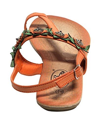 Bolaro Df5038 Anello Punta Delle Donne Decorazione Fiore In Cristallo Superiore Slingback Cinturino Alla Caviglia Sandali Pu Arancione