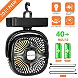 COMLIFE Portable LED Camping Lantern with Tent Ceiling Fan -4400 mAh Battery Powered Mini Desk Fan with USB Charging Input-Survival Kit for Hurricane, Emergency, Storm, Outages