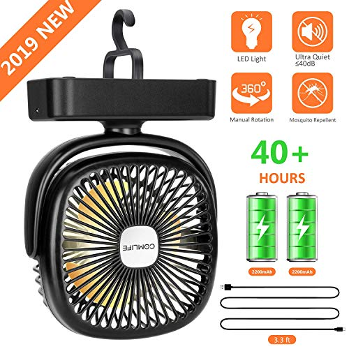 Portable LED Camping Lantern with Tent Ceiling Fan -4400 mAh Battery Powered Mini Desk Fan with USB Charging Input-Survival Kit for Camping, Hiking, Home,Office (2 pack Battery is included) -