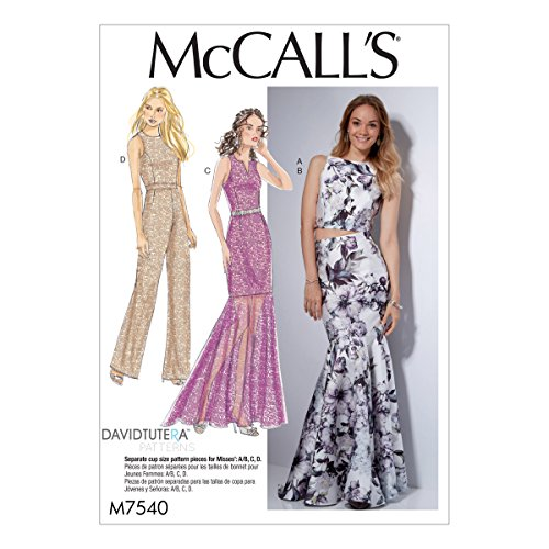 - McCall's Patterns M7540A50 Misses' Princess Seam Top, Trumpet Dress and Skirt and Tulip-Back Jumpsuit