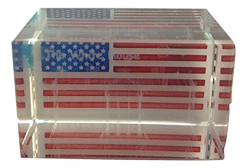 White House 3D Laser Etched Glass Crystal Paperweight with USA Flag , Washington DC Souvenirs