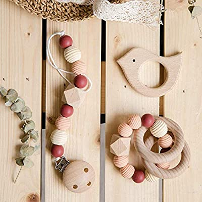 Baby Teether Gift Set of Organic Wood Silicone Beads Teething Toy & Bird Shaped Pendant Pacifier Clip Sensory Activity Teether Rattle Squeaker Chewable Threaded Beads Montessori Toys: Toys & Games