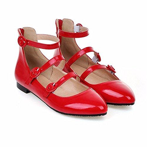 Europa y América, fondo plano puntiagudo, zapatos de mujer, par alto hebillas, solo zapatos, zapatos de mujer de gran tamaño gules