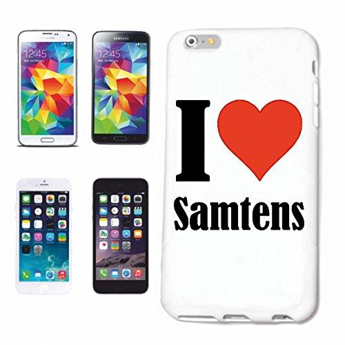"""Handyhülle iPhone 4 / 4S """"I Love Samtens"""" Hardcase Schutzhülle Handycover Smart Cover für Apple iPhone … in Weiß … Schlank und schön, das ist unser HardCase. Das Case wird mit einem Klick auf deinem S"""