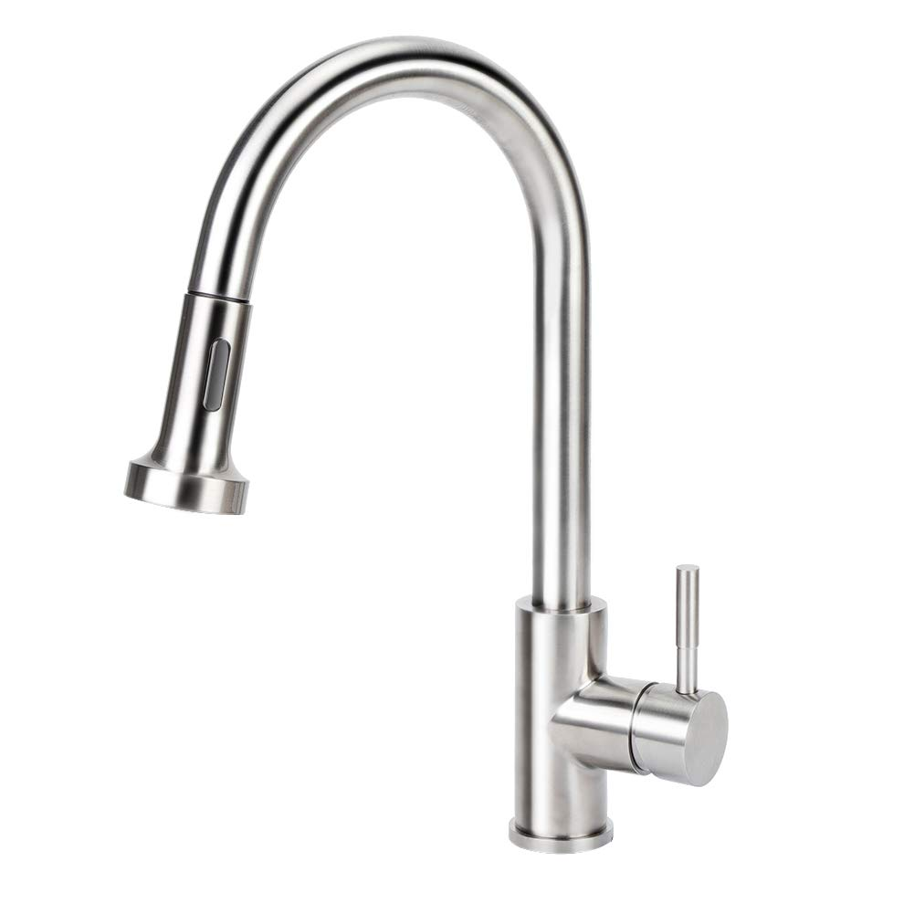 Kitchen Sink Faucet, Stainless Steel High Arc Single Lever Handle Faucet Pull Out Kitchen Faucet with Pull down Sprayer and Water Temperature adjustment