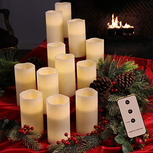 Set of 12 Ivory 3x6 Wax Remote Controlled Battery Operated Flickering Candles with Remote and Batteries (Ivory, 12pk)