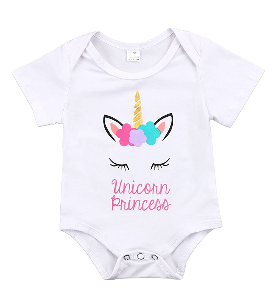 Calsunbaby Newborn Baby Girls Unicorn Princess Short Sleeve Romper Bodysuit Summer