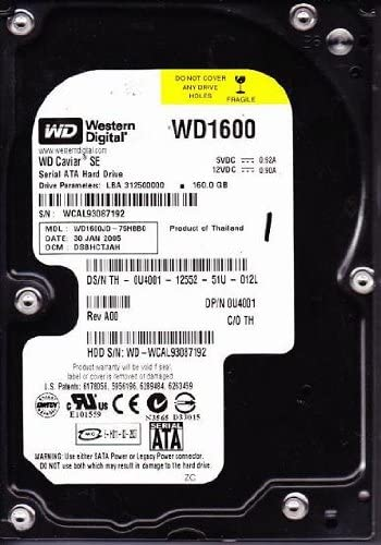 WD1600JD75HBB0 Western Digital WD WD1600JD-75HBB0 160GB 7200RPM SATA 8MB Buffer Hard Drive