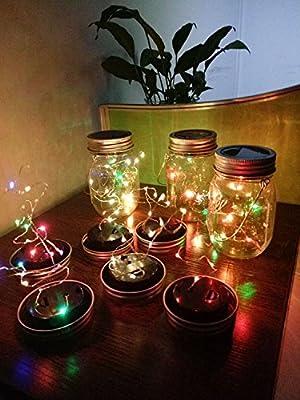 4 Pack Solar Mason Jar Lights, 10 LED Multi-Color Jar String Fairy Hanging Light-Garden Outdoor Solar Lanterns, Mason Jar Decor Solar Light, Patio Path Light for Christmas Halloween