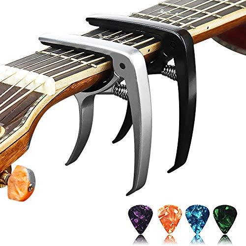 ((2 Pack) Diruite Guitar Capo for Acoustic and Electric Guitar, Ukulele,Bass, Banjo and Mandolin - Black & Silver [1 x Black Guitar Capo, 1 x Silver Guitar Capo, 4 x Guitar Picks])