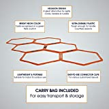 Yes4All Hexagonal Agility Rings with Carrying Bag - Speed Rings, Agility Hurdles for Agility Footwork Training (Set of 6 Rings), A. Orange - 6 Rings