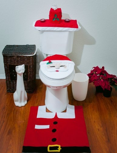 Santa Toilet Seat Cover and Rug Set (Red)