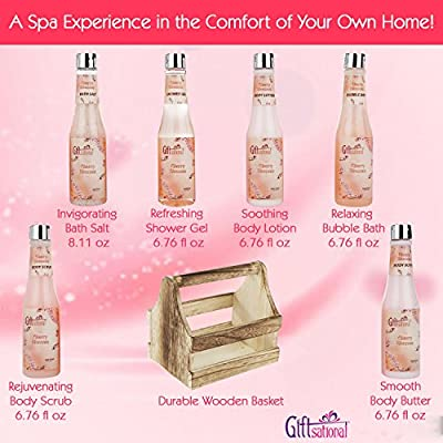 Spa Gift Basket with Cherry Blossom Fragrance, Wooden Cabinet with 6 Bottles, Great Wedding, Birthday or Anniversary Gift Set For Women, Includes Shower Gel, Bubble Bath, Body Lotion & more!