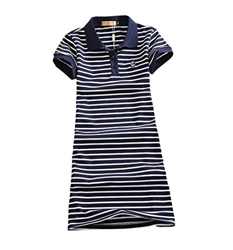 DuWei (ドゥウェイ) レディース テニスウェア ストライプ 刺繍 Tシャツ 半袖ゲームシャツ ワンピース スポーツウェア 運動着 ゴルフウェア 体型カバー可愛い ジャージ カジュアル