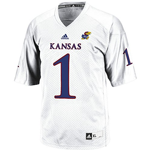 adidas NCAA Kansas Jayhawks Men's 3-Stripe Football Jersey, Large, White (Football Jersey Shirt Ncaa)