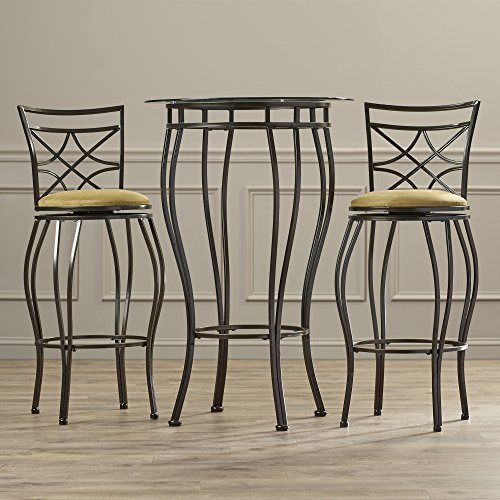 Contemporary Pub Table Set - 3 Piece Counter Height Bistro - Home Bar Glass Top Table & Upholstered 30'' Stools In Bronze Finish (Glass Top Pub Table Sets)