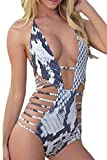 Carprinass Women's Sexy One Piece Monokini Bandage Plunge Swimsuit Swimwear, Medium, Blue