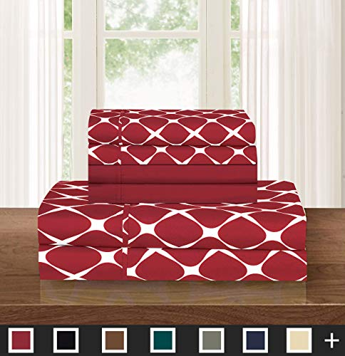 Elegant Comfort  Luxury Softest 6-Piece Sheet, Wrinkle Resistant Milano Trellis Pattern 1500 Thread Count Egyptian Quality Coziest Bedding Set, California King, Burgundy