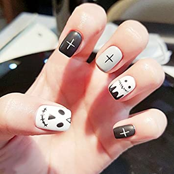 christmas fake nails artificial stick on nails cartoon fake tips best nail art