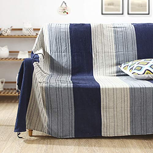 Vonty Chenille Bohemian Throw Blanket with Tassels Decorative Tribal Throw Blankets for Sofa Couch, Bed, Table Cover (Blue Stripe, 60