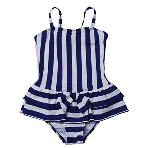 MingAo Big Girls Swimsuit One Piece Blue Striped - Strapless Bow Swimwear