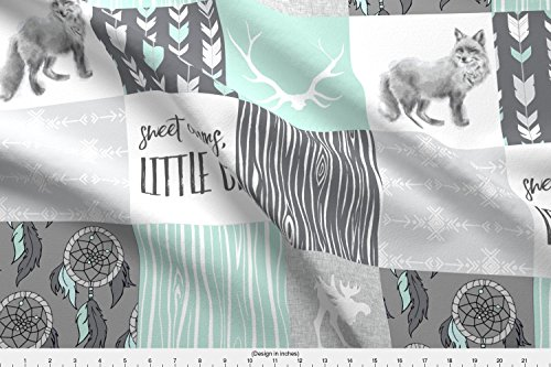 Spoonflower Fabric Sweet Dreams Patchwork In Mint And Grey - Woodland Animals, Southwest Boho, Fox, Moose by Sugarpinedesign Printed on Fleece Fabric by the ()