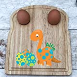 Personalised Breakfast Board, dippy Egg and Soldiers, Wooden Board, Dinosaur