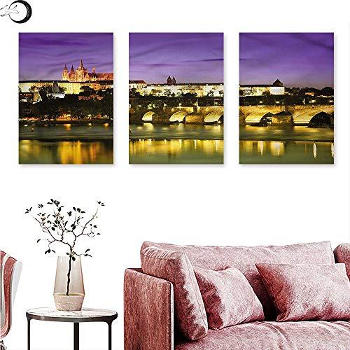 Anniutwo Travel Wall hangings Charles Bridge Prague Triptych Wall Art W 12