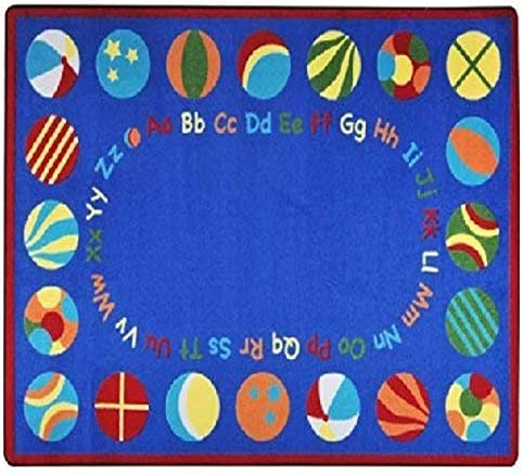 Joy Carpets Kid Essentials Early Childhood Oval Bouncy Balls Rug, Multicolored, 5 4 x 7 8