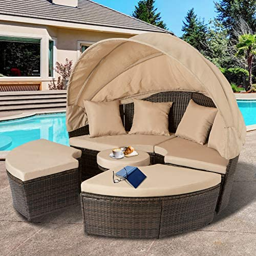 Aoxun Outdoor Patio Daybed Backyard Round Bed