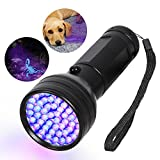 UV Flashlight Black Light, 51 LED 395nM Ultraviolet Handheld Flashlights Blacklight Detector for Pet Urine, Pet Stains, Bad Bug, Scorpion Hunting Aluminum Torch Light(Battery not Included)
