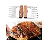 Disumos 2pcs Bear Claws Meat Divider Torning Pork Stainless Steel BBQ Forks With Wooden Handle Meat Chopper