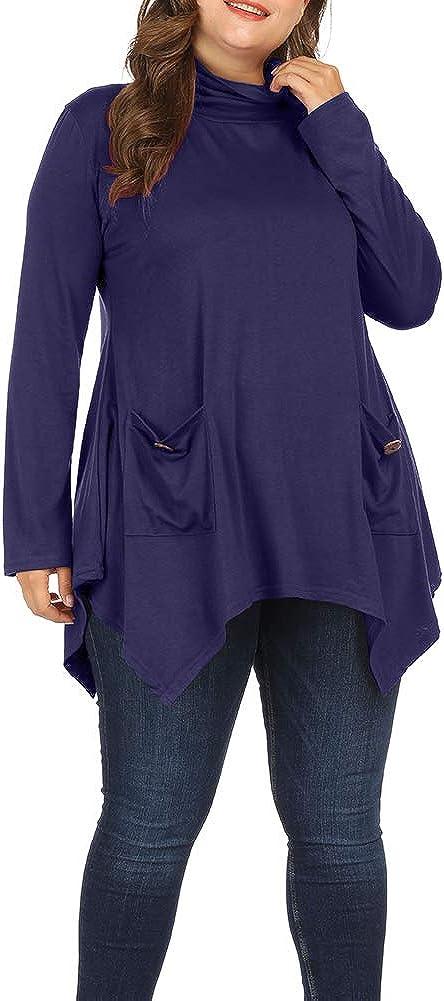 Allegrace Women Plus Size Long Sleeve Turtleneck Long Tunic Top Flowy Irregular Hem Shirts