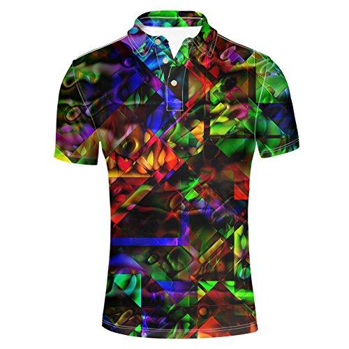 HUGS IDEA Modern Men's Jersey Polos T-Shirt Colorful 3D Print Shirts Athletic Sport Short Sleeve -