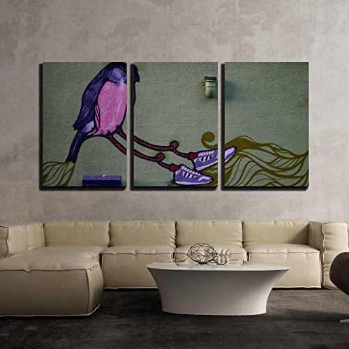 wall26 - 3 Piece Canvas Wall Art - Abstract Painting with Birds Wearing a Pair of Shoes - Modern Home Decor Stretched and Framed Ready to Hang - 24