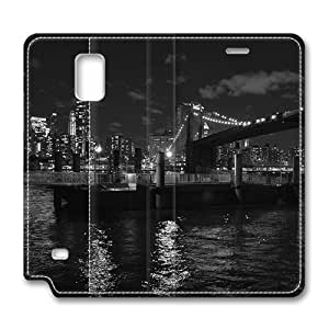Brain114 Fashion Style Case Design Flip Folio PU Leather Cover Standup Cover Case with Brooklyn Bridge New York 3 Pattern Skin for Samsung Galaxy Note 4