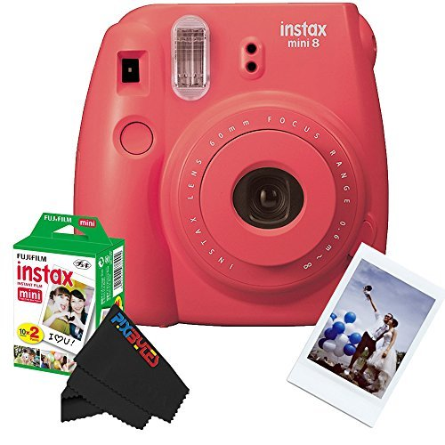 Fujifilm Instax Mini 8 Instant Film Camera Bundle - Raspberry 16443917 by Fujifilm