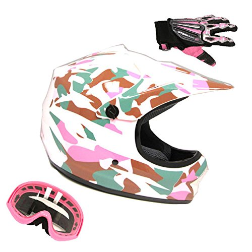 Motocross MX BMX Bike Youth Pink Camo/Camouflage Helmet + Goggle + Skeleton Glove