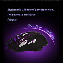 QERY Gaming Mouse, Ergonomic USB Wired Gaming Mouse Mice with 3200 DPI Adjustable High Precision 8 Button LED Optical for Laptop PC Computer Gamer, Comfortable Grip