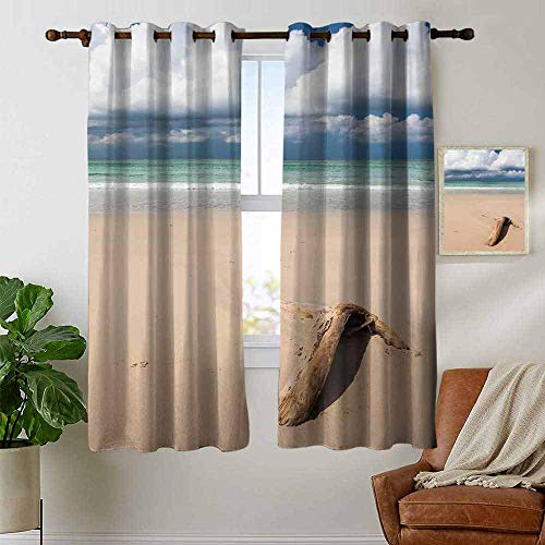 Blackout Curtains 2 Panels Driftwood,Driftwood on The Beach and Cloudy Sky Coming Storm Theme Digital Image,Sand Brown and Blue,for Room Darkening Panels for Living Room, Bedroom 52