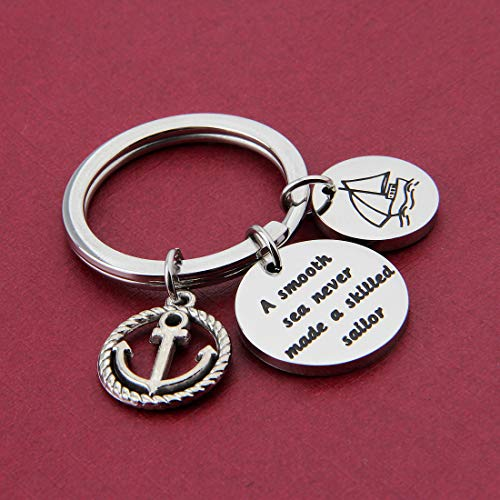 HOLLP Sailor Keyring Anchor Jewelry A Smooth Sea Never Made A Skilled Sailor Gifts for Sailor Beach Jewelry Husband Gift (Sailor Keyring) by HOLLP (Image #2)